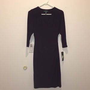 New Women's Ralph Lauren Dress Dark Raspberry Sz 4